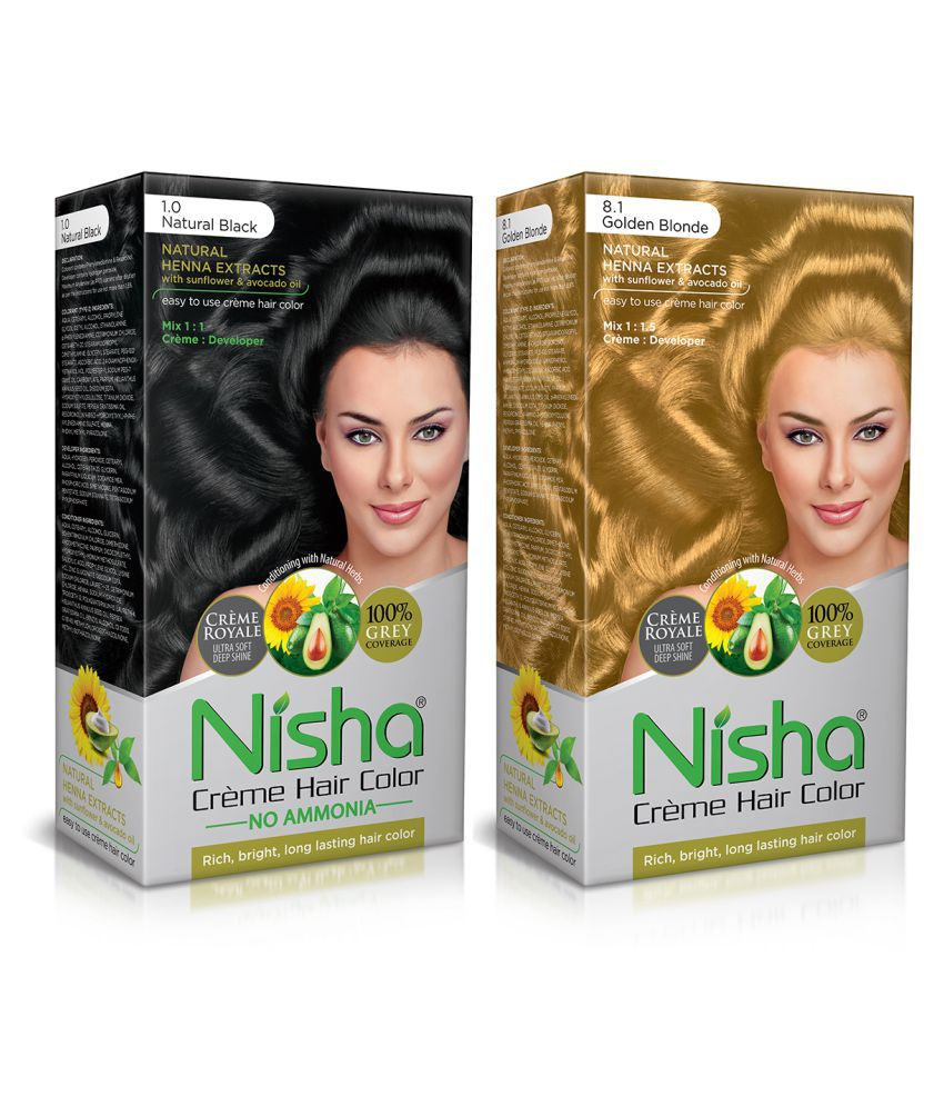 Nisha (60gm, 60ml, 12ml) Cream Each Pack Permanent Hair Color Golden Blonde Natural black 1 & Golden Blonde 8.1 120 mL Pack of 2