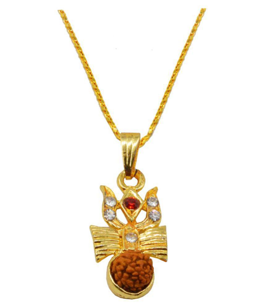 Men style  Religious Jewelry Cubic Zirconium Crystal Trishul Damaru RuMdraksha Locket With Chain Gold-plated Brass, Crystal, Wood Pendant