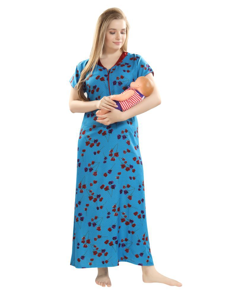 Woman maternity nightdress nightwear with two sides buttons and short sleeve M36