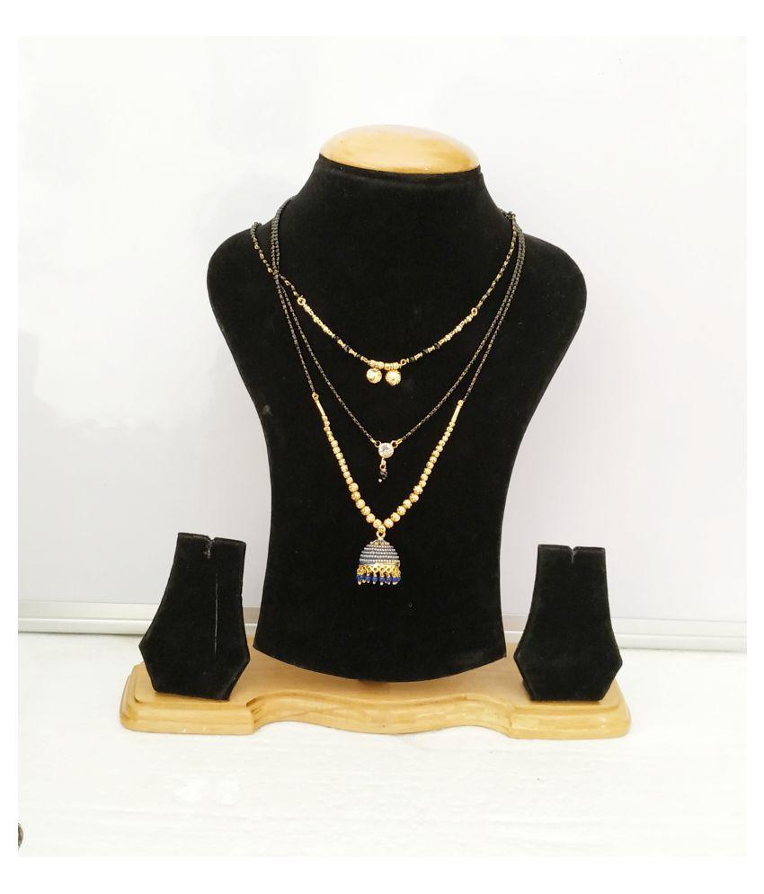 Stylish Rectangular pendant design with long hanging Style kanthi Brass Mangalsutra Pack-3