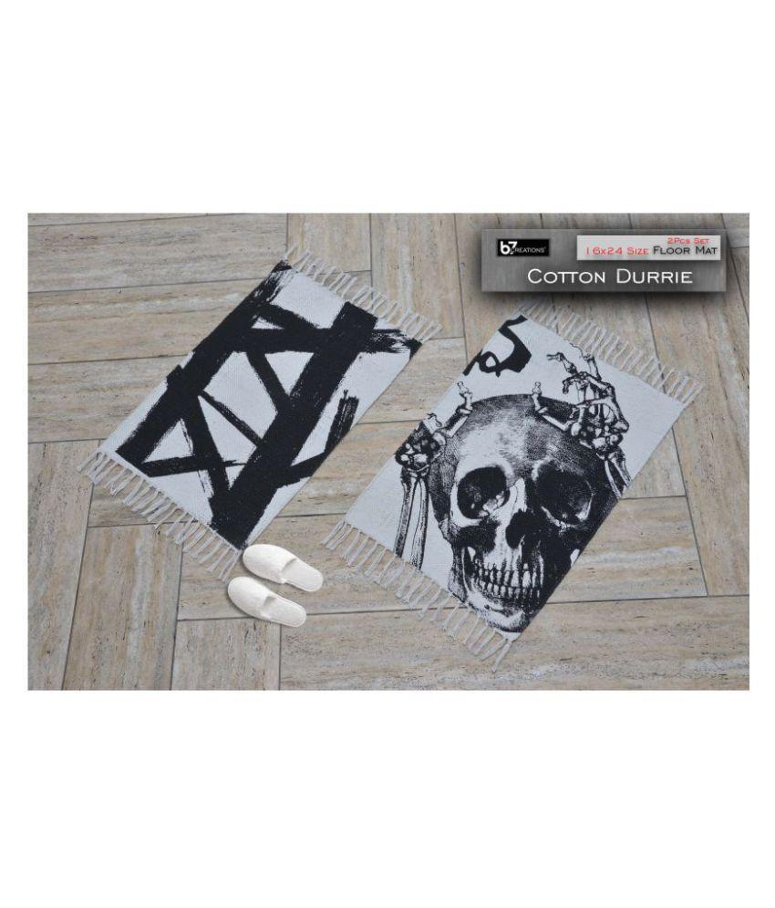 B7 CREATIONS Black Set of 2 Anti-skid Floor Mat