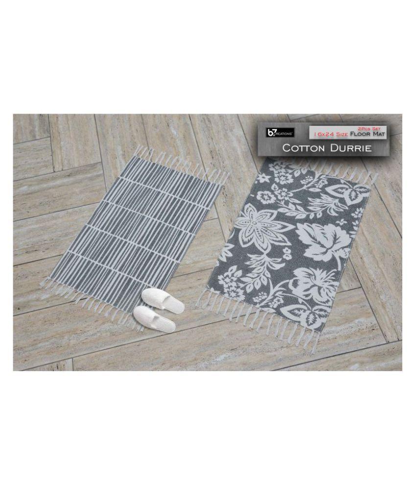 B7 CREATIONS Gray Set of 2 Anti-skid Floor Mat