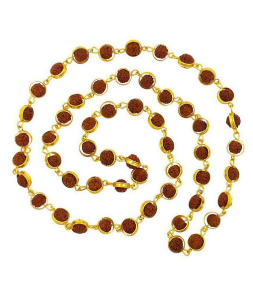 SHANKHRAJ  MICRO GOLD plated chain  rudraksha in ring design long mala for men