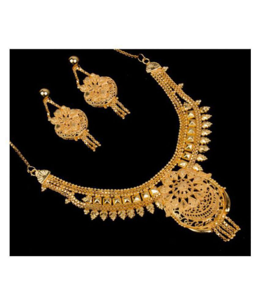 Piah Alloy Golden Traditional Necklaces Set Collar