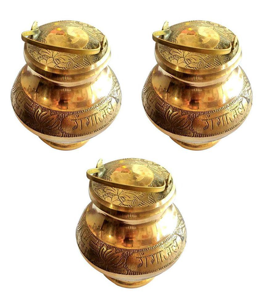 Divyanshi Enterprises Present's Brass Pavitra Gangajali Lota Kalash for Gangajal/Water/GANGOTRI in 100% Brass with 200 ml. Gangajal GANGOTRI Water Pouch (Height - 5 inch) (Set of 3)
