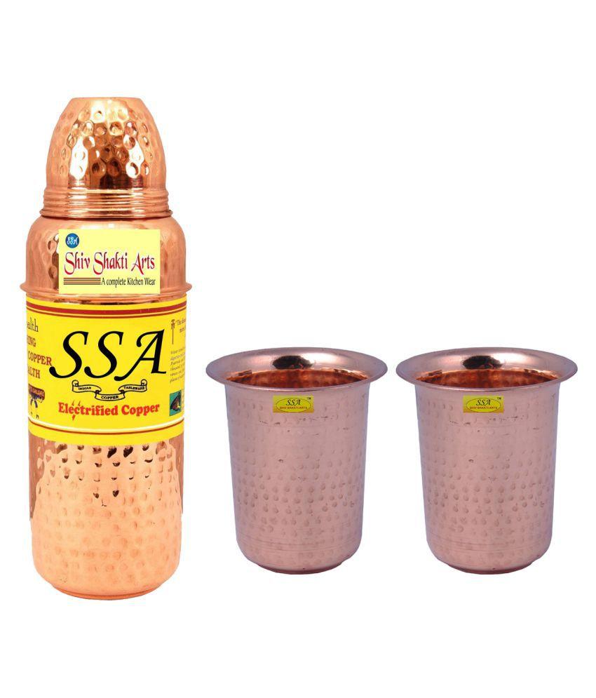 Shiv Shakti Arts Bottle & Glasses Set 3 Pcs Lemon set