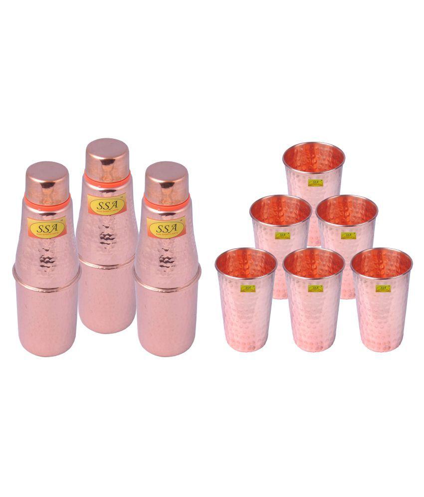 Shiv Shakti Arts Bottle & Glasses Set 9 Pcs Lemon set