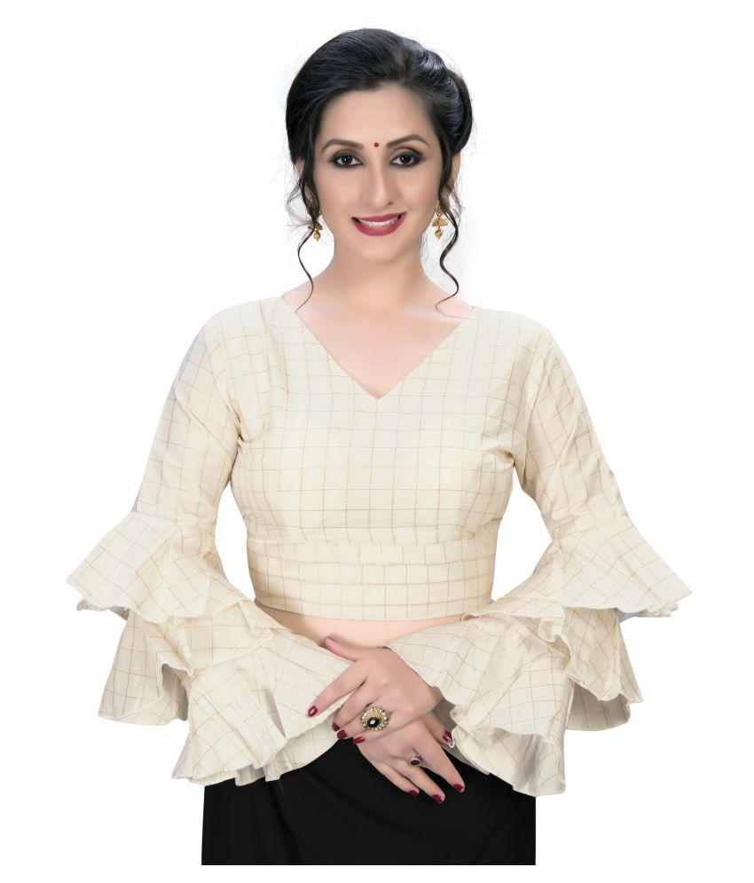 Amrutam Fab Off White Silk Semi Stitched Blouse
