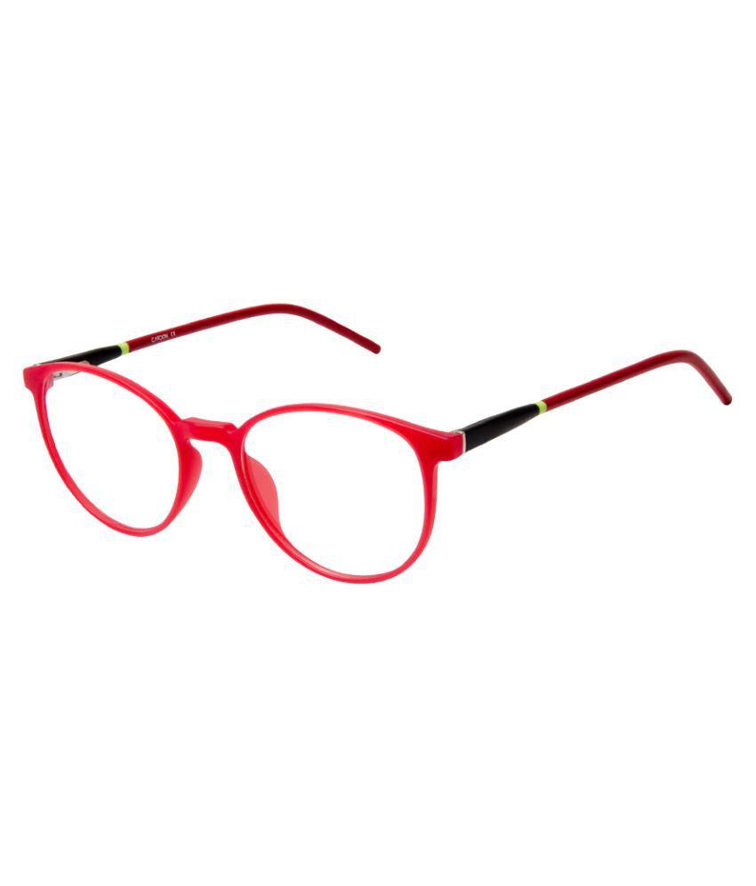 Cardon Matte Red Round Full Rim EyeFrame for Kids