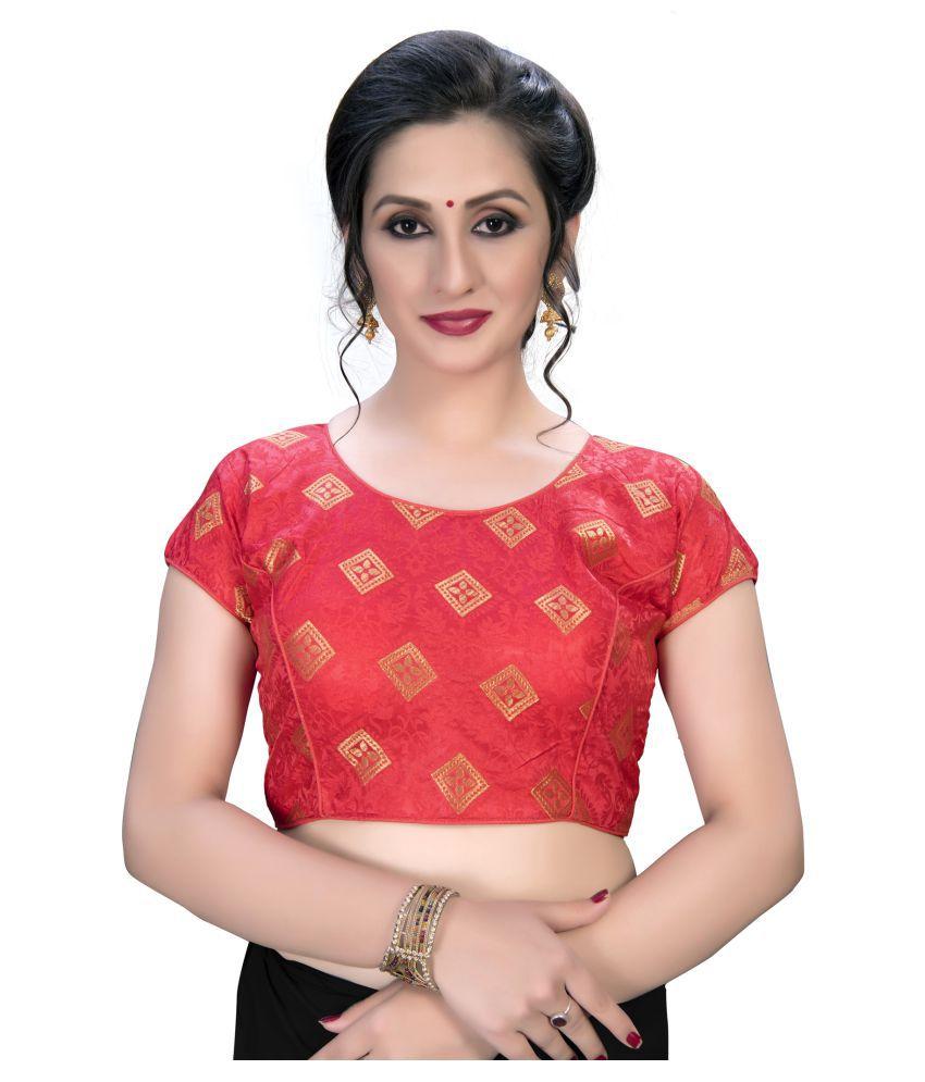 Fab Dadu Pink Jacquard Semi Stitched Blouse
