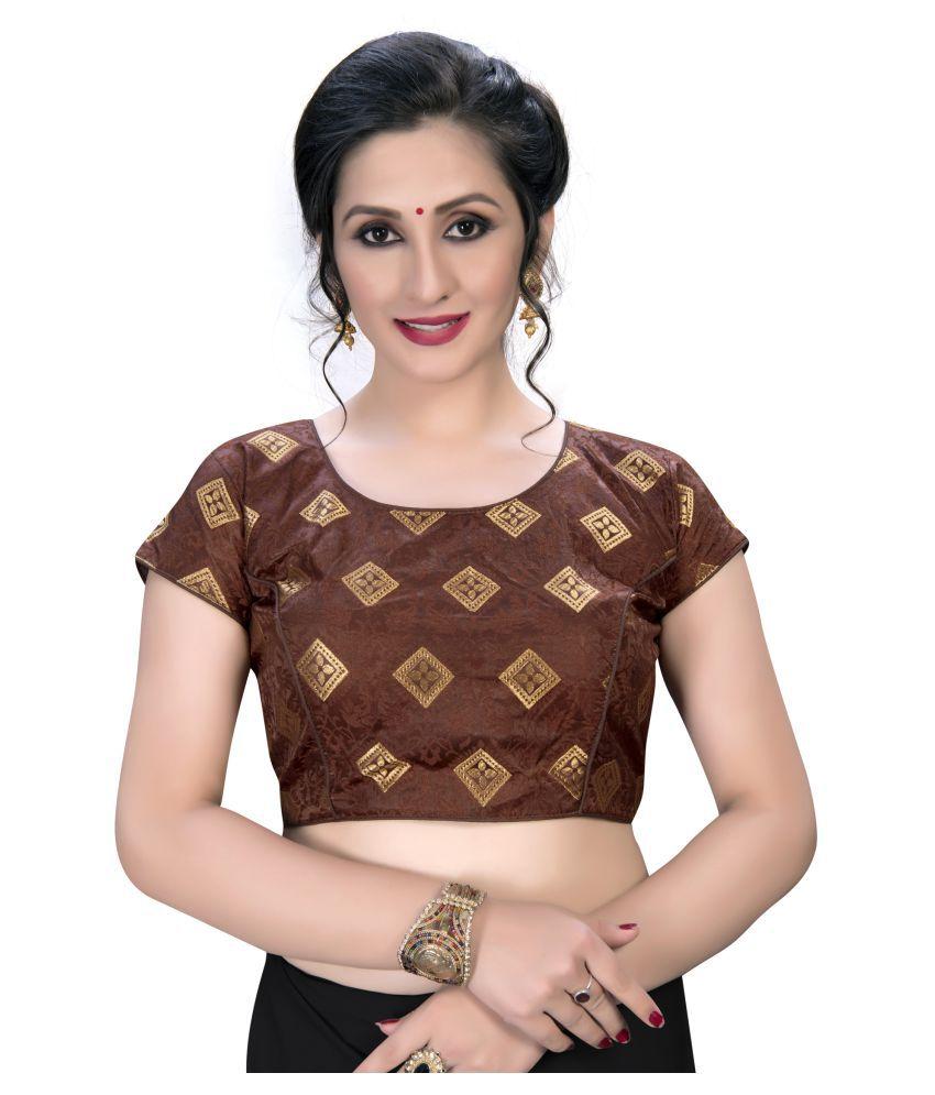 Shubh Sanidhya Brown Jacquard Semi Stitched Blouse