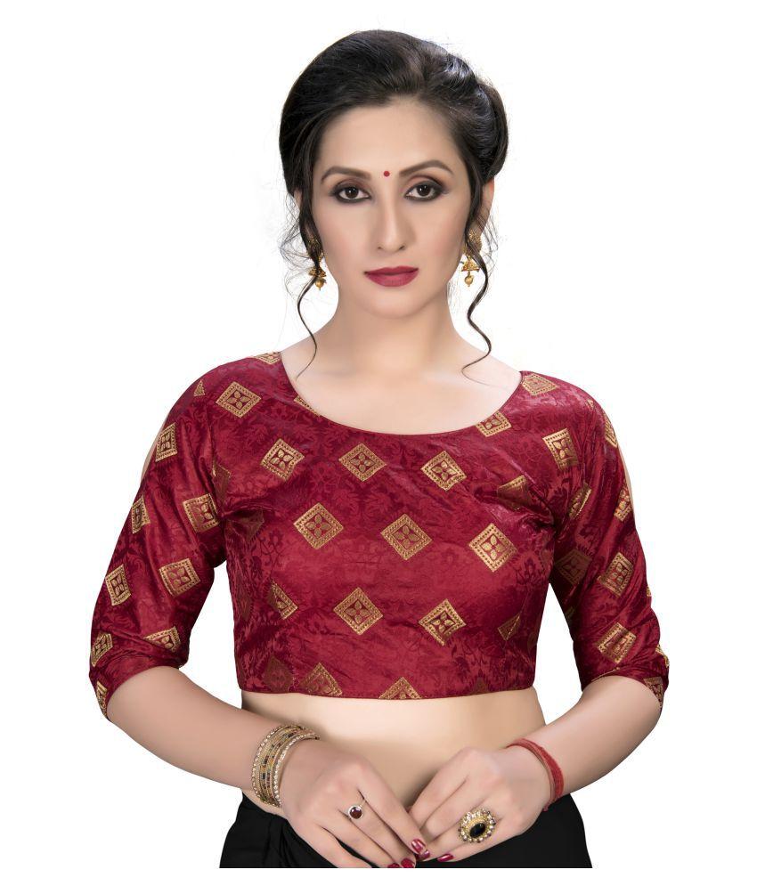 Amrutam Fab Maroon Jacquard Semi Stitched Blouse