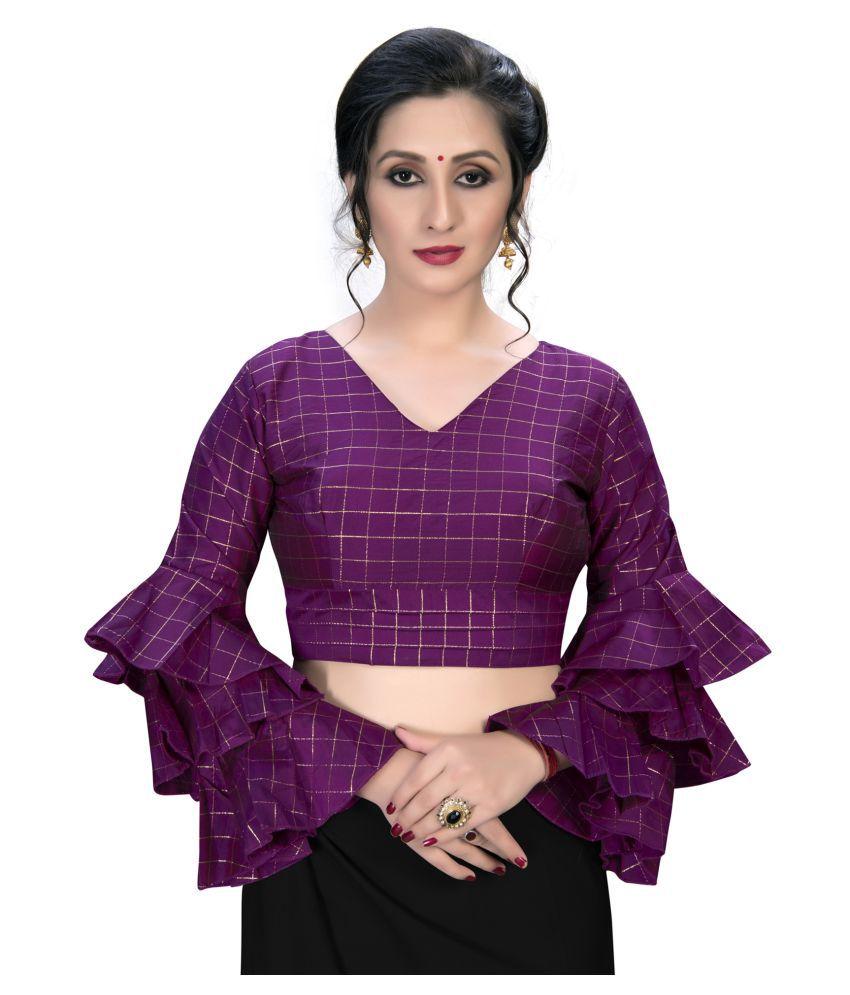 Amrutam Fab Purple Silk Semi Stitched Blouse