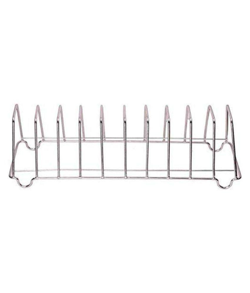 Hazzlewood 10 Plate holder Stainless Steel Kitchen Rack  (Silver)