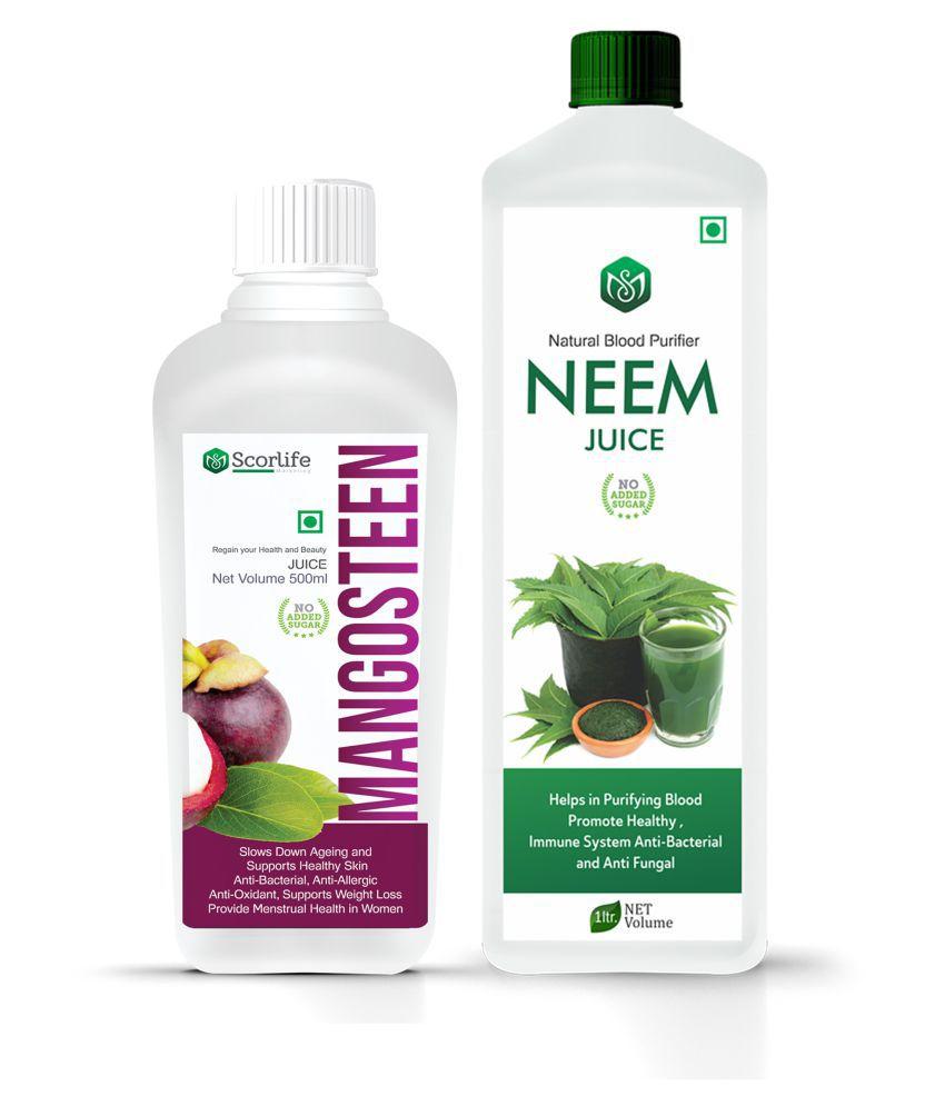 Scorlife Mangosteen Juice 500ml.& Neem Juice 1000ml. Sugar Free Health Drink 1500 ml Pack of 2