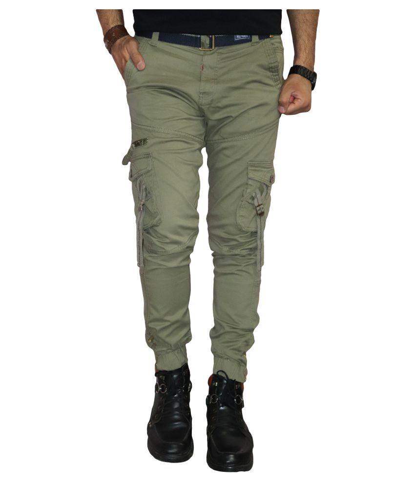 Urban Legends Light Green Regular -Fit Flat Trousers