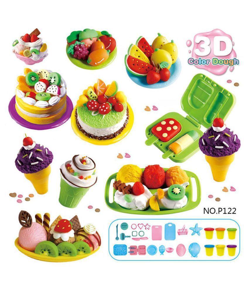 Children Kitchen Baking Pretend Role Play Colorful Plasticine Cake Mould Set