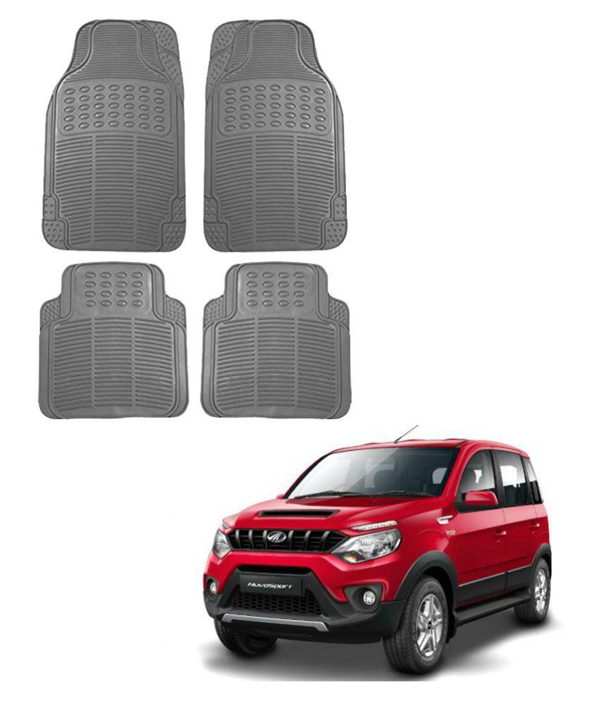 Auto Addict Car Simple Rubber Grey Mats Set of 4Pcs For Mahindra NuvoSport