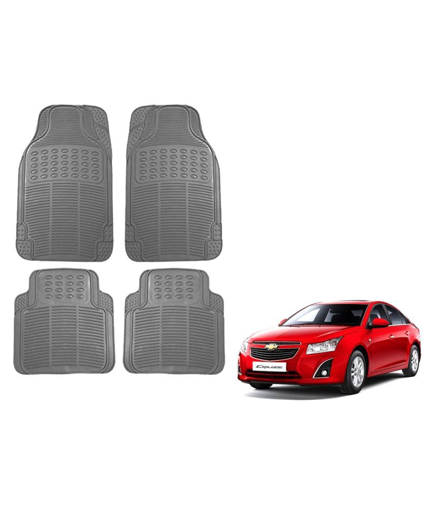 Auto Addict Car Simple Rubber Grey Mats Set of 4Pcs For Chevrolet Cruze