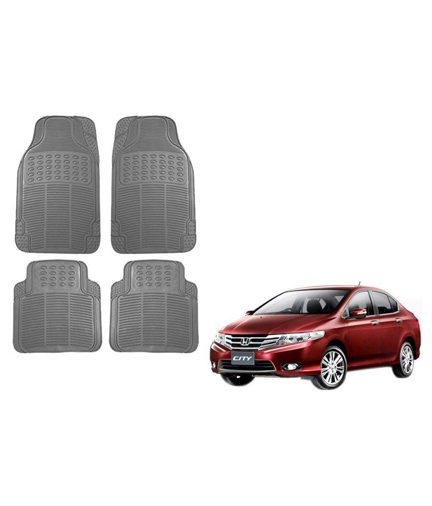 Auto Addict Car Simple Rubber Grey Mats Set of 4Pcs For Honda City Ivtec(2010-2014)