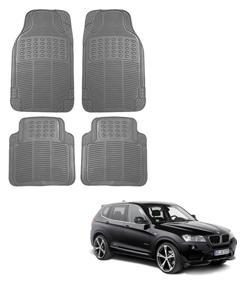 Auto Addict Car Simple Rubber Grey Mats Set of 4Pcs For BMW X3