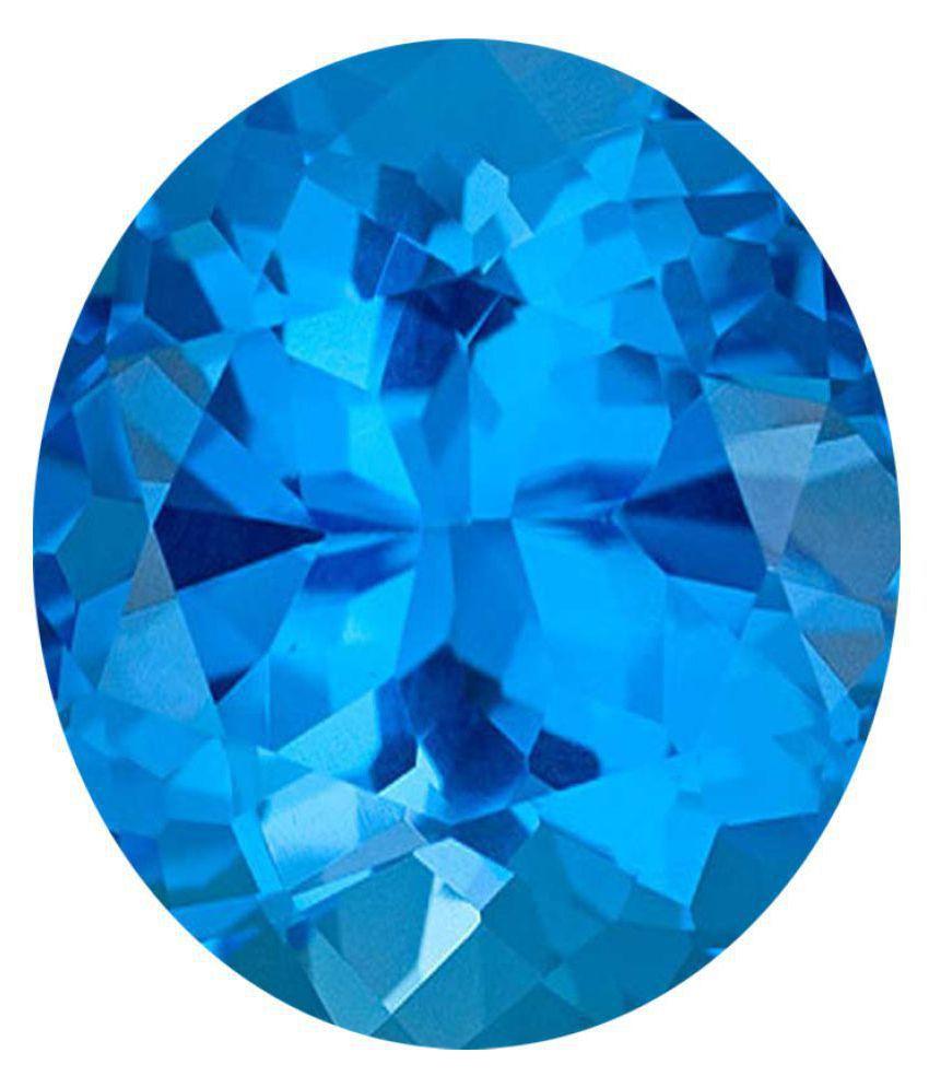 Tejvij And Sons 3.25 -Ratti Self certified Blue Topaz Semi-precious Gemstone