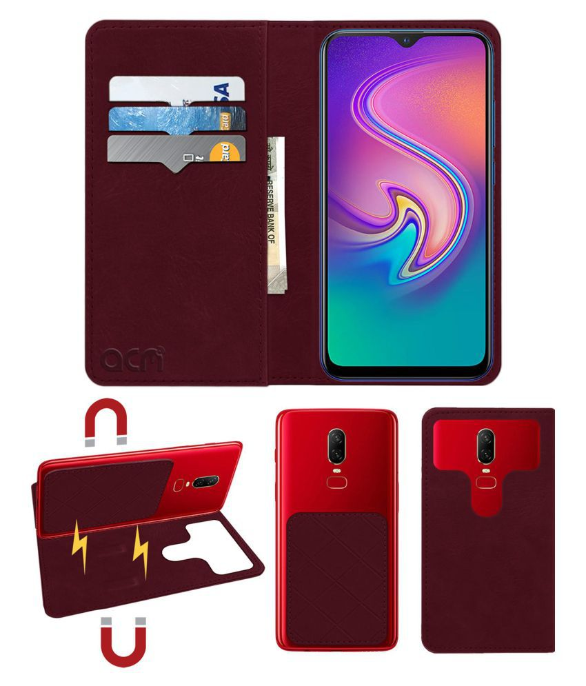 INFINIX S4 Flip Cover by ACM - Red 2 in 1 Detachable Case,Attachable Flip With Magnet