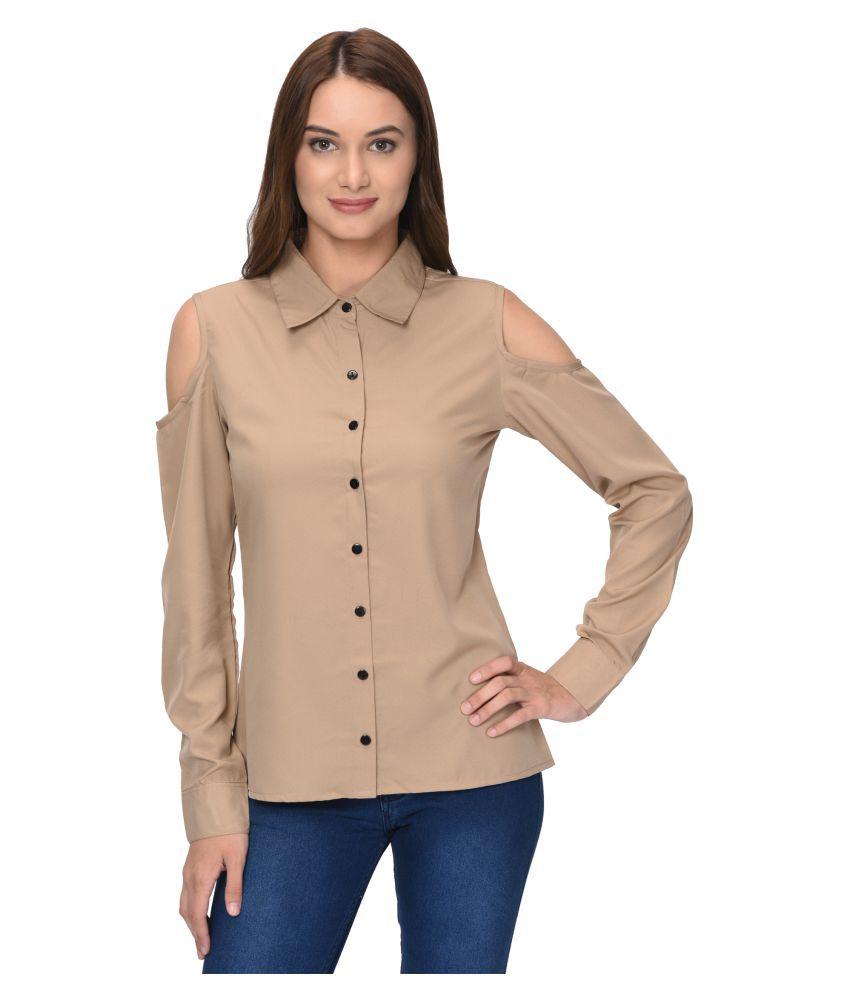 Thisbe Khaki Poly Crepe Shirt