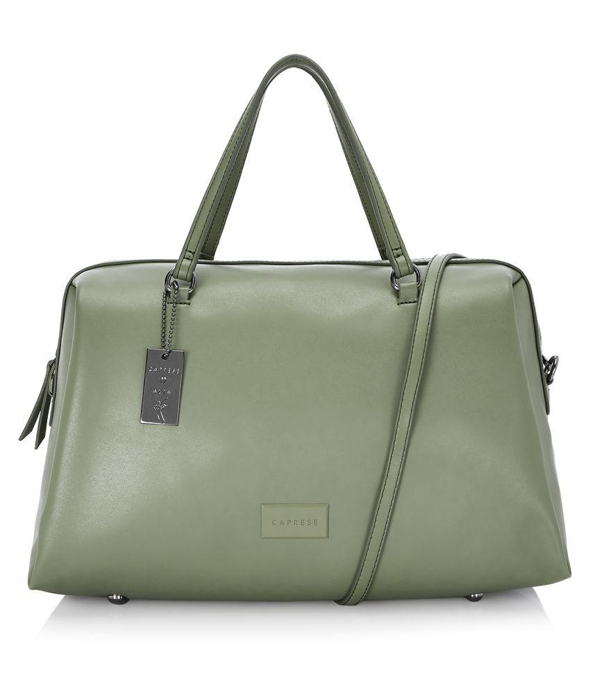 Caprese Green Faux Leather Satchel Bag