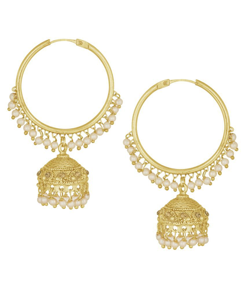 Spargz Traditional Alloy Gold Plated Bead Hoop Jhumki Earring For Women