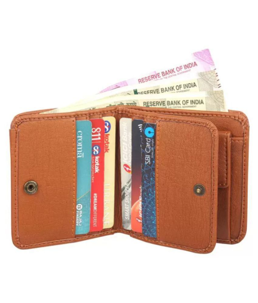 Maahir collection Faux Leather Tan Casual Short Wallet