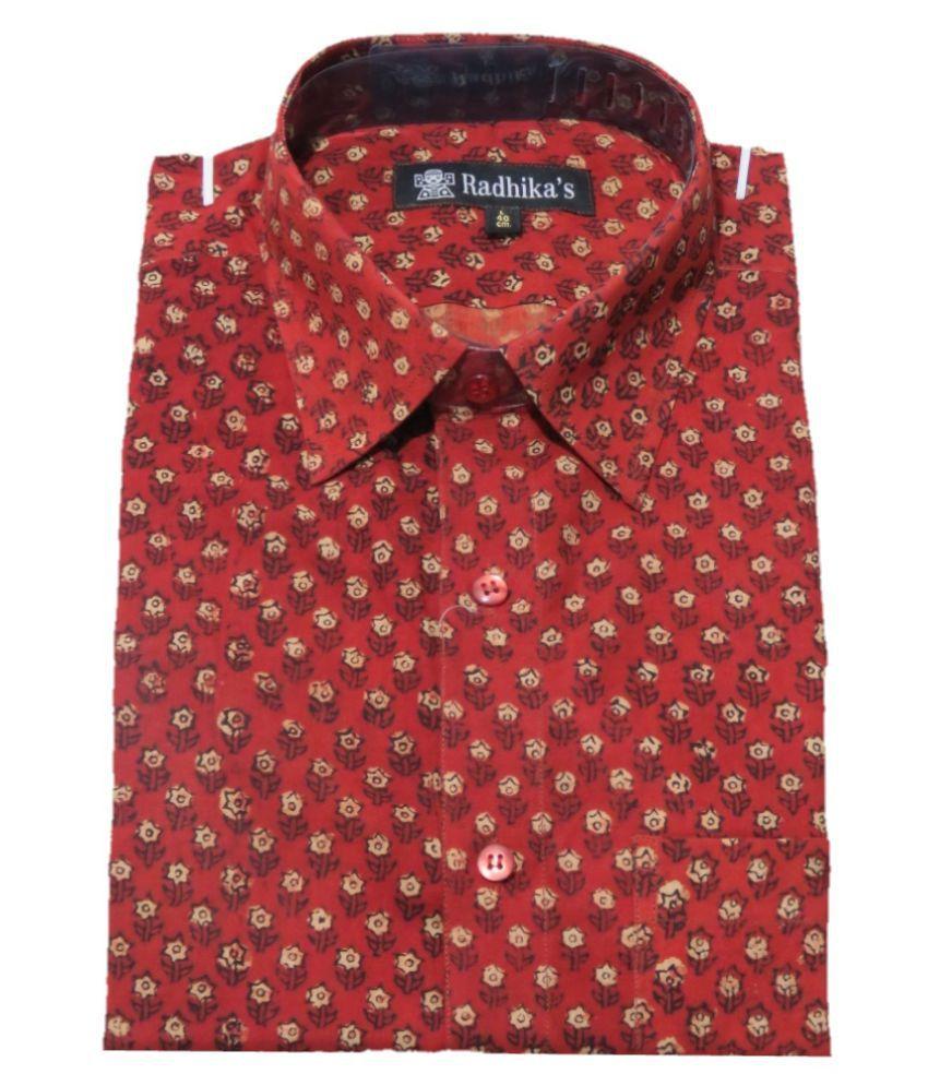 Radhika's 100 Percent Cotton Red Color Blocks Shirt