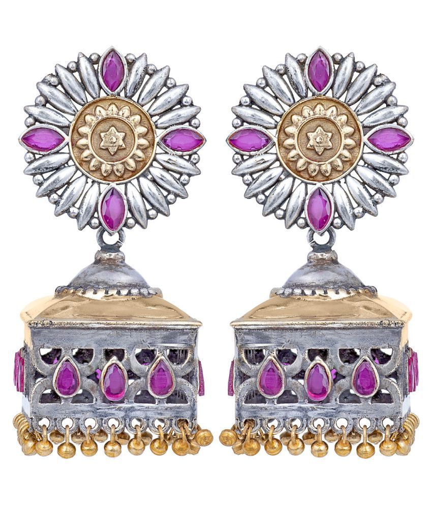 Peora Indian Traditional Jaipur Collection Antique Oxidised Silver Plated Pink Jhumka Jhumki Earrings for Women Girls