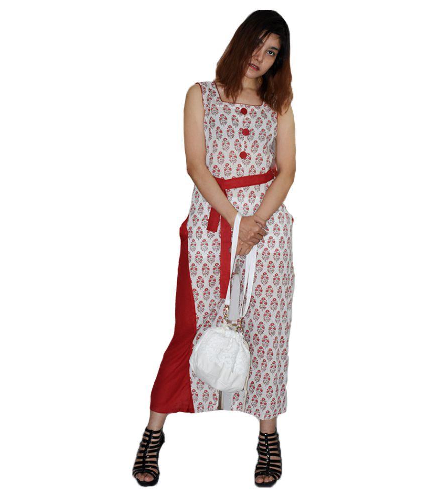 Rajneeral Babutta Group Cotton Red Regular Dress
