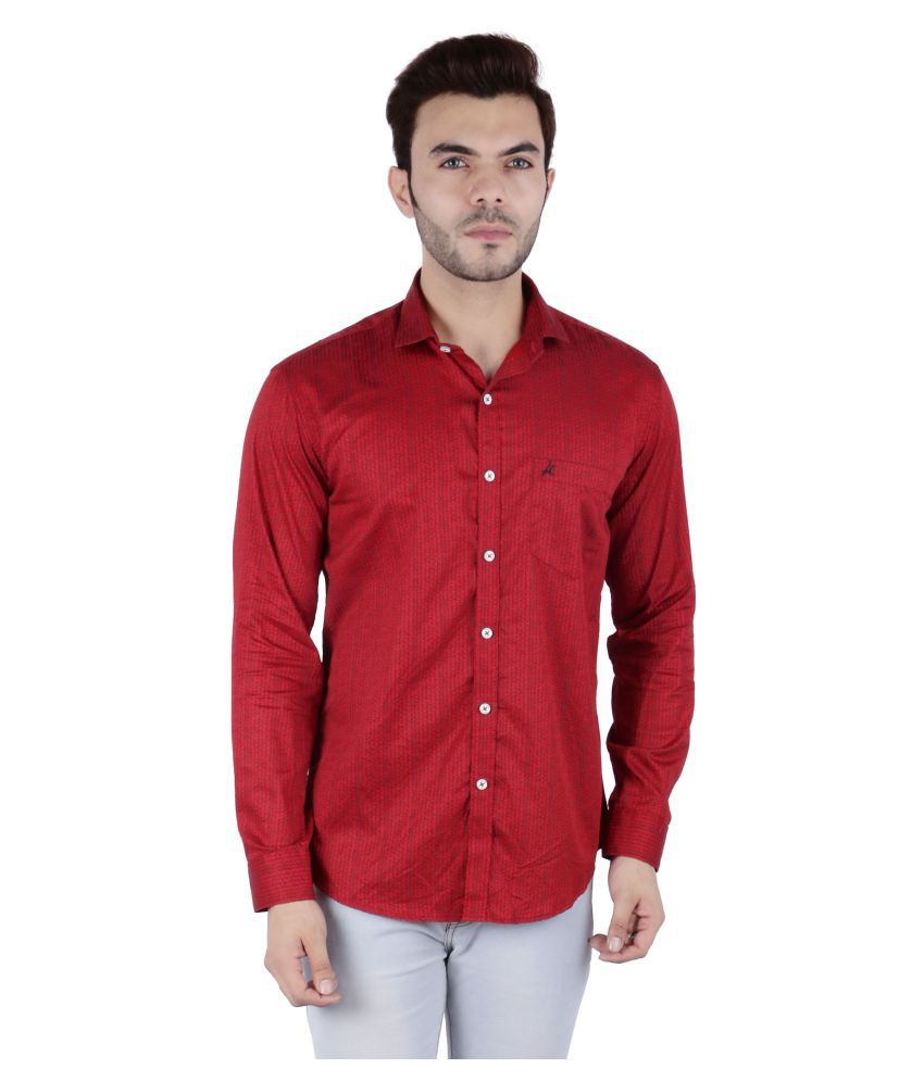 AllenCPR 100 Percent Cotton Red Prints Shirt