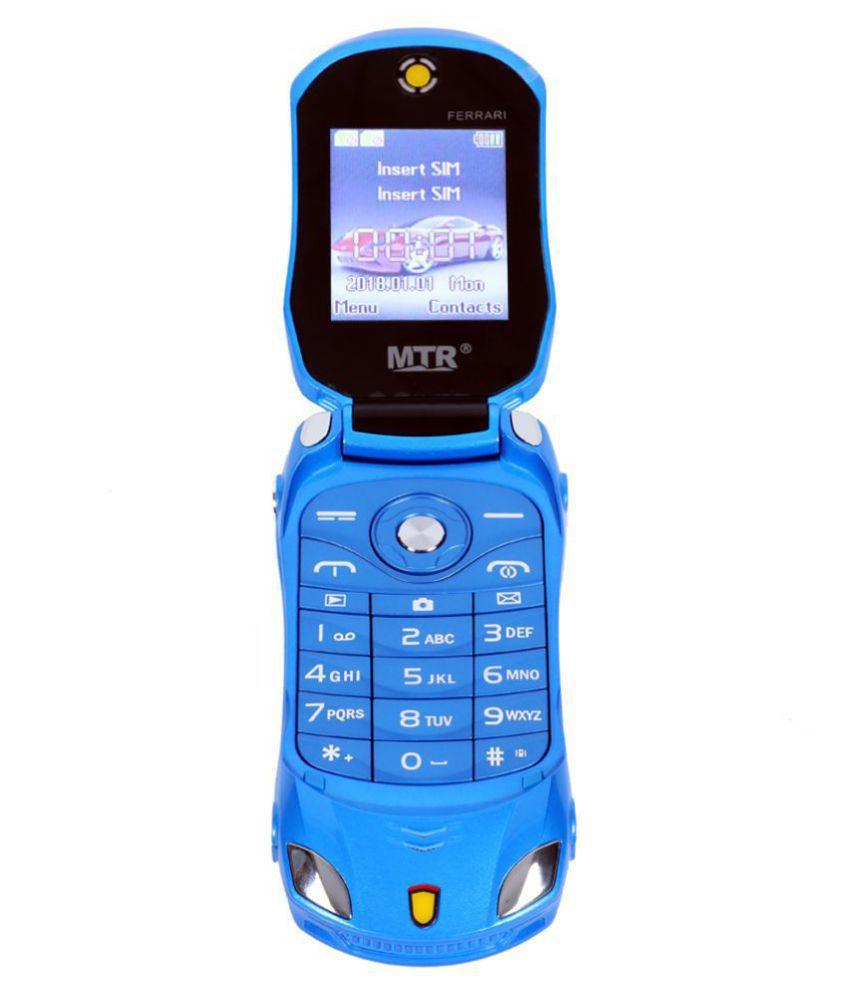 MTR FARARI CAR SHAPED FLAP MOBILE PHONE,DUAL SIM, 800 MAH BATTERY, CAMERA, BLUETOOTH, BIG SOUND, FM , BLUE