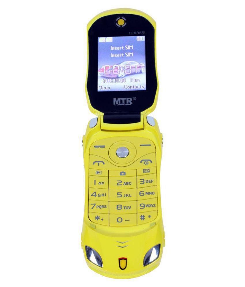 MTR FARARI CAR SHAPED FLAP MOBILE PHONE,DUAL SIM, 800 MAH BATTERY, CAMERA, BLUETOOTH, BIG SOUND, FM , YELLOW