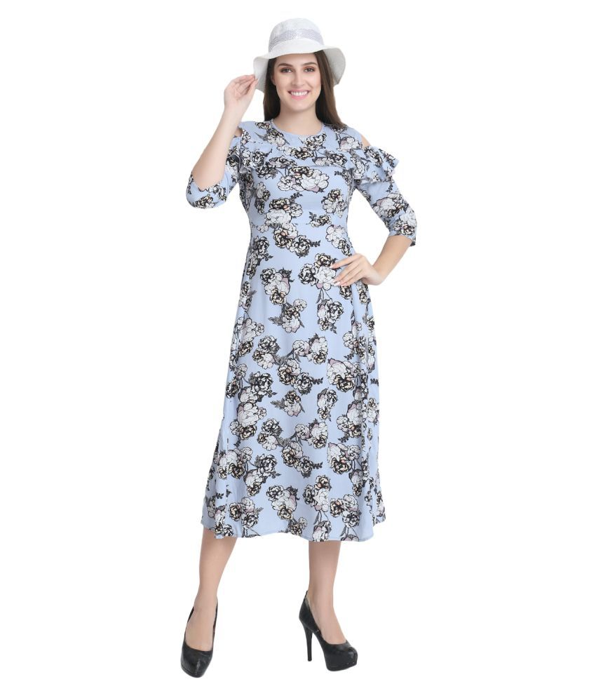 BuyNewTrend Rayon Blue Regular Dress