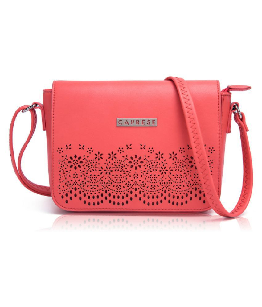 Caprese Coral Faux Leather Sling Bag