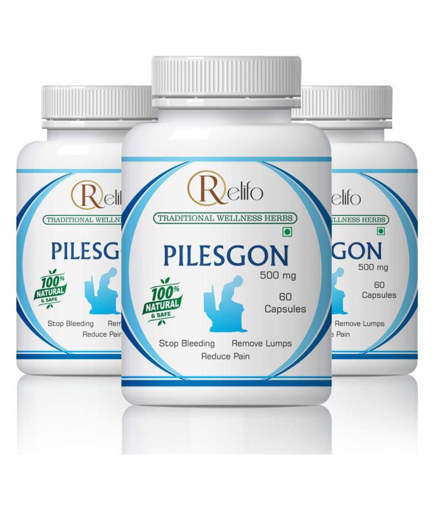 Relifo Natural Pilesgon Bleeding & Non Bleeding Capsule 500 mg Pack of 3