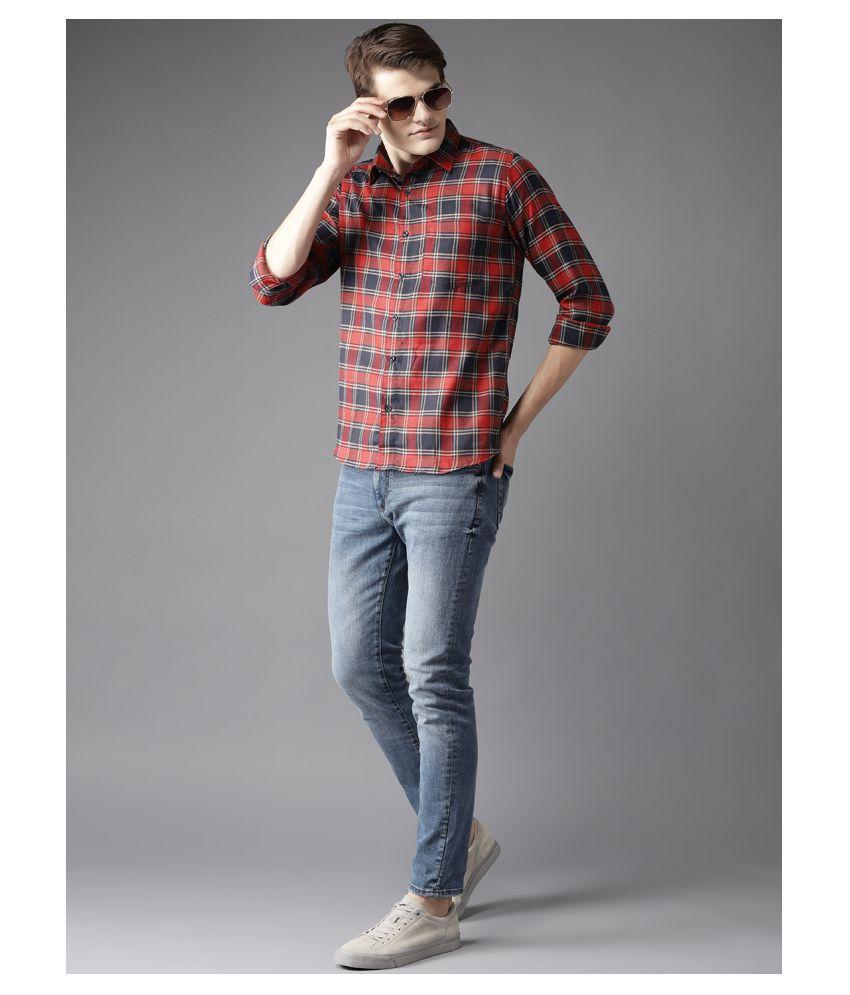 Dennison Cotton Blend Red Checks Shirt