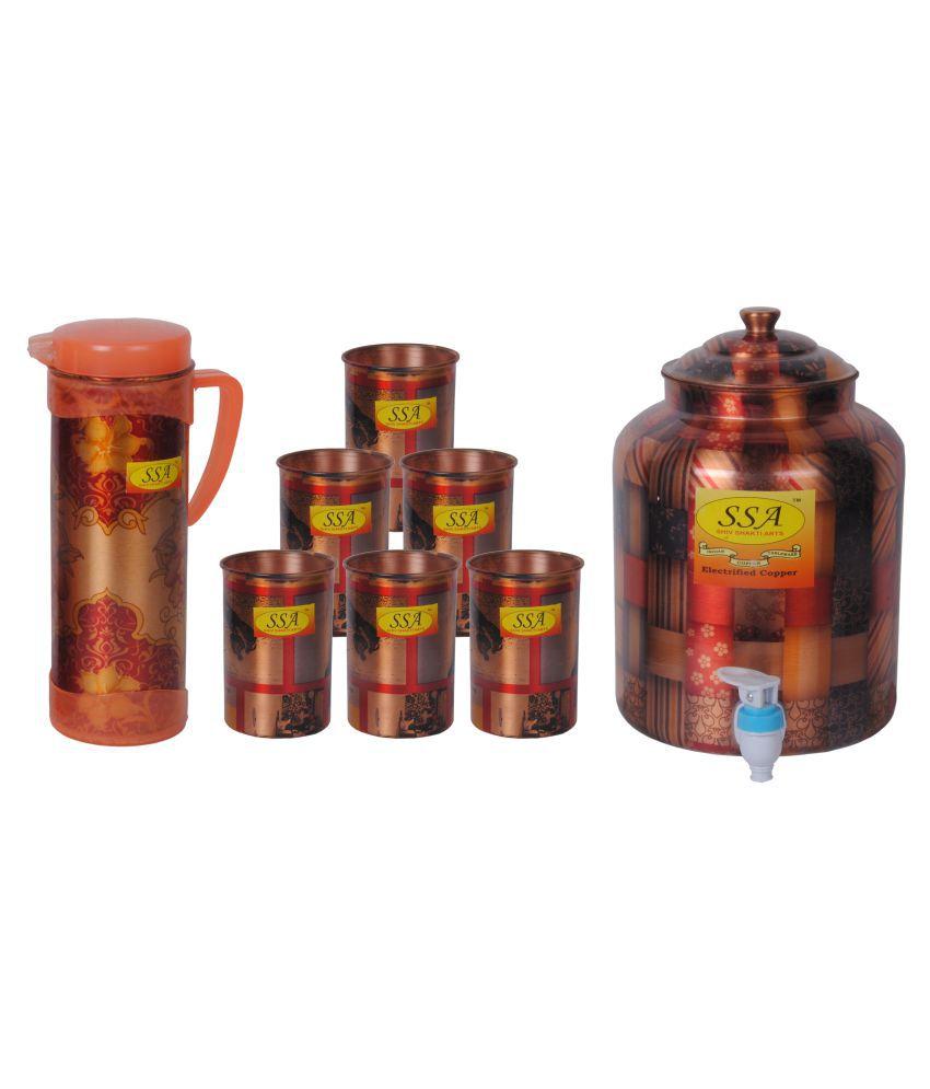 Shiv Shakti Arts Copper Drinkware Set 8 Pcs Juice Set