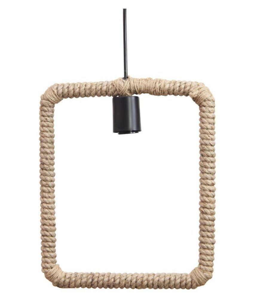 Decorshala Metal Square Rope Lamp Pendant Black - Pack of 1