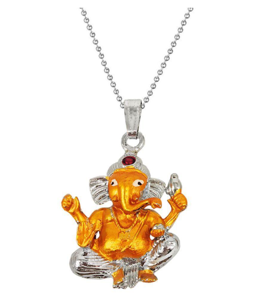 Men Style  Lord  Shree Ganesh Ganapati Vinayaka Amulet Ganesha Hindu God Locket With Chain Zinc, Metal Pendant Set
