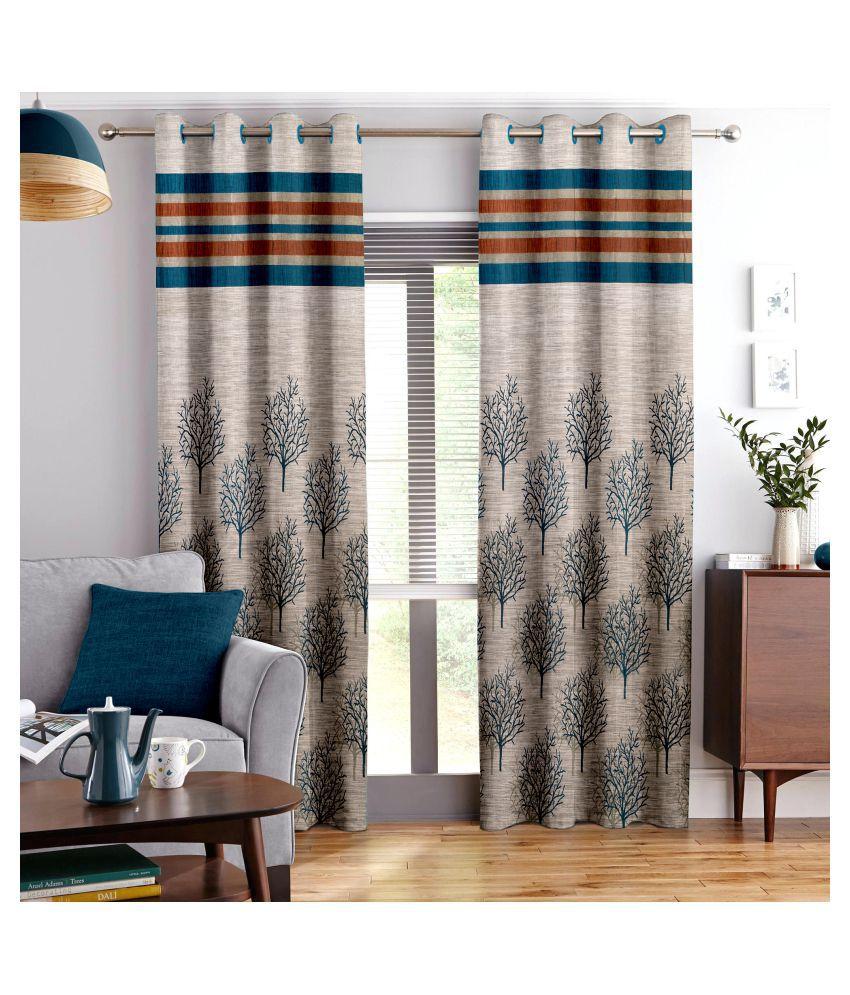 Story@Home Set of 3 Door Semi-Transparent Eyelet Jute Curtains Blue