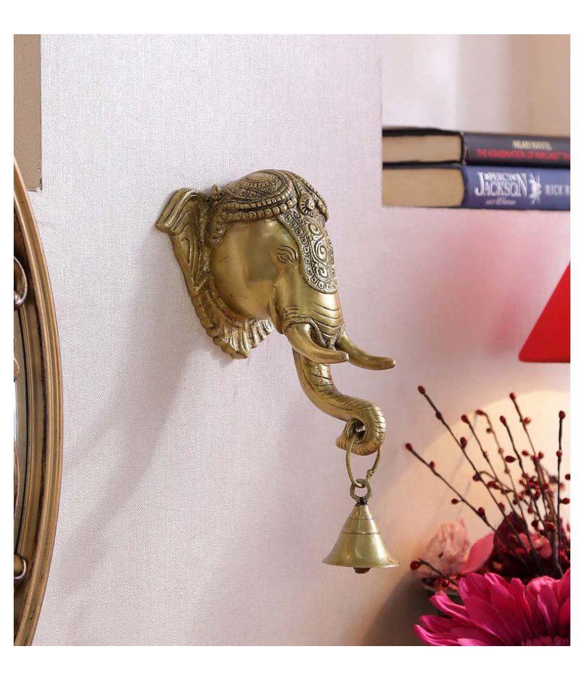 Susajjit Decor Brass Ganpati Head Wall Hanging Wall Sculpture Yellow - Pack of 1