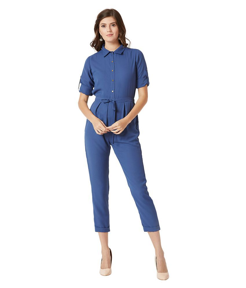 Miss Chase Blue Crepe Jumpsuit