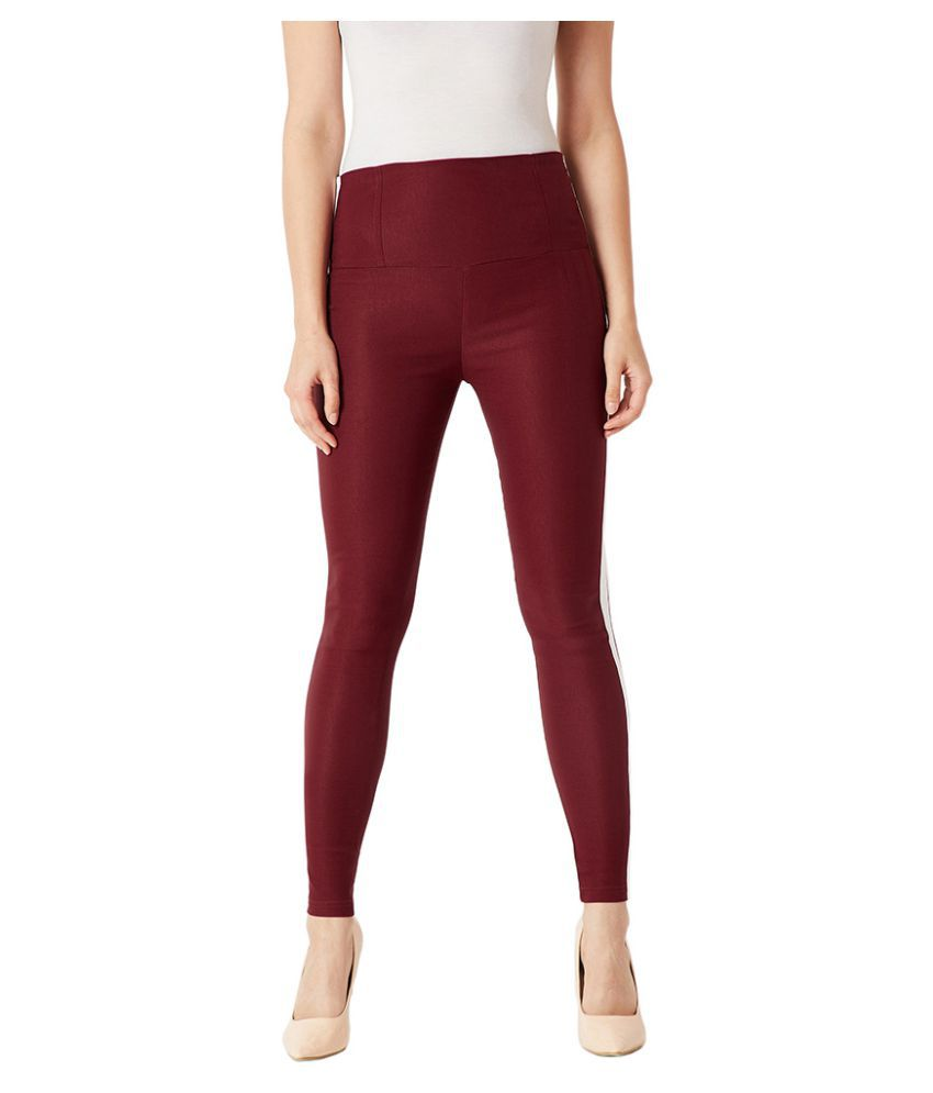 Miss Chase Polyester Jeggings - Maroon