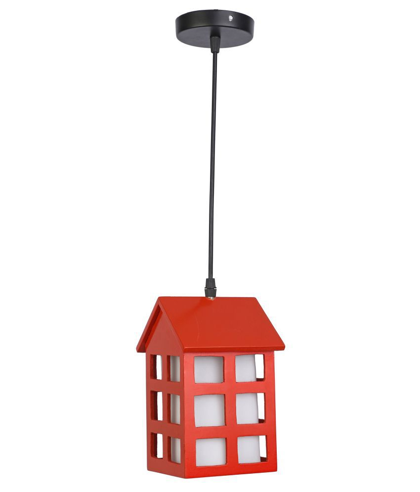 AFAST Wood Hut Shade Lamp Pendant Red - Pack of 1