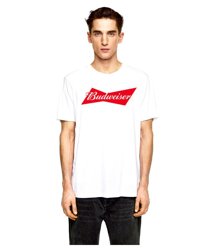 Birdfly 100 Percent Cotton White Printed T-Shirt
